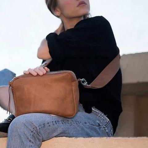 תיקי עור לנשים tesbags דיאנה קאמל חום